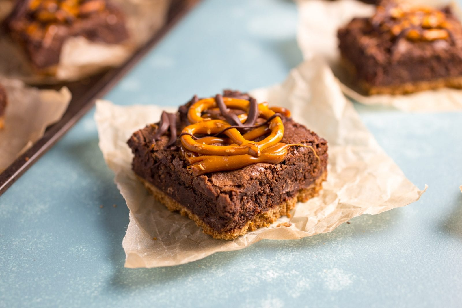 Salted Caramel Brownies with Pretzel Crust