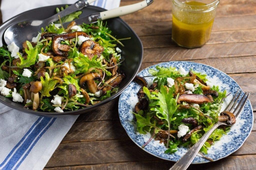 Warm Kale and Caramelized Wild Mushroom Salad