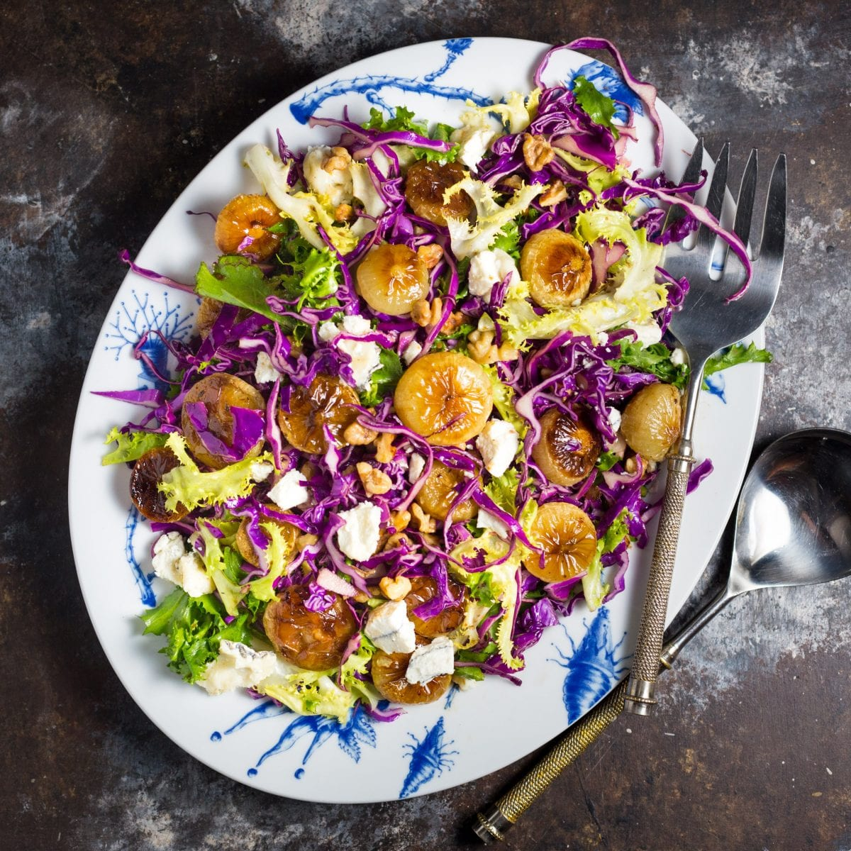 Red Cabbage Salad with Roasted Cipollini Onions