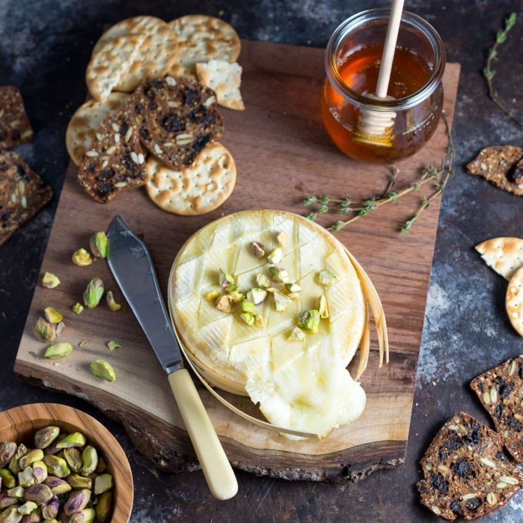 Easy Baked Brie with Honey and Pistachios