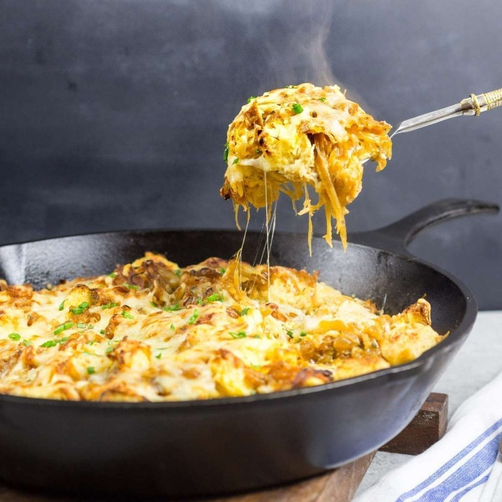 French Onion Strata - a savory bread pudding