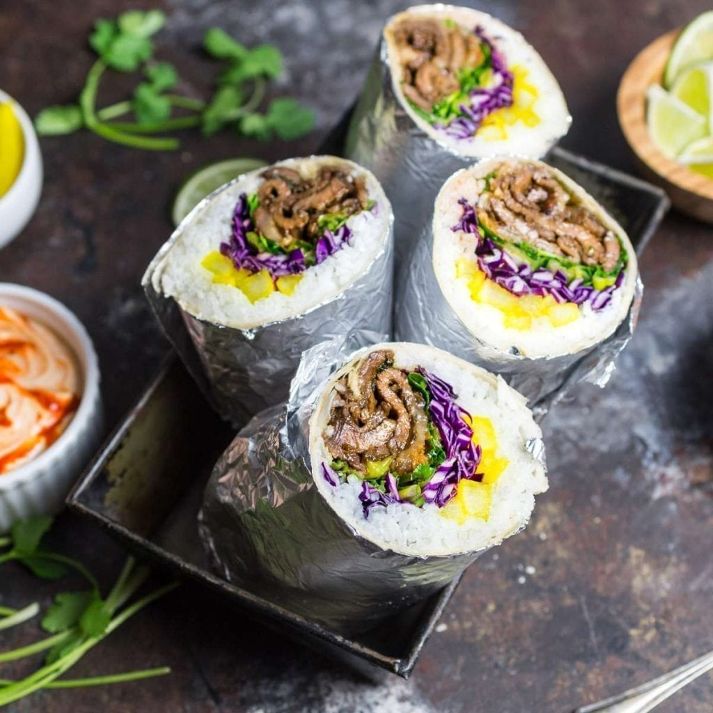 Korean Bulgogi Burrito with Radish Pickle