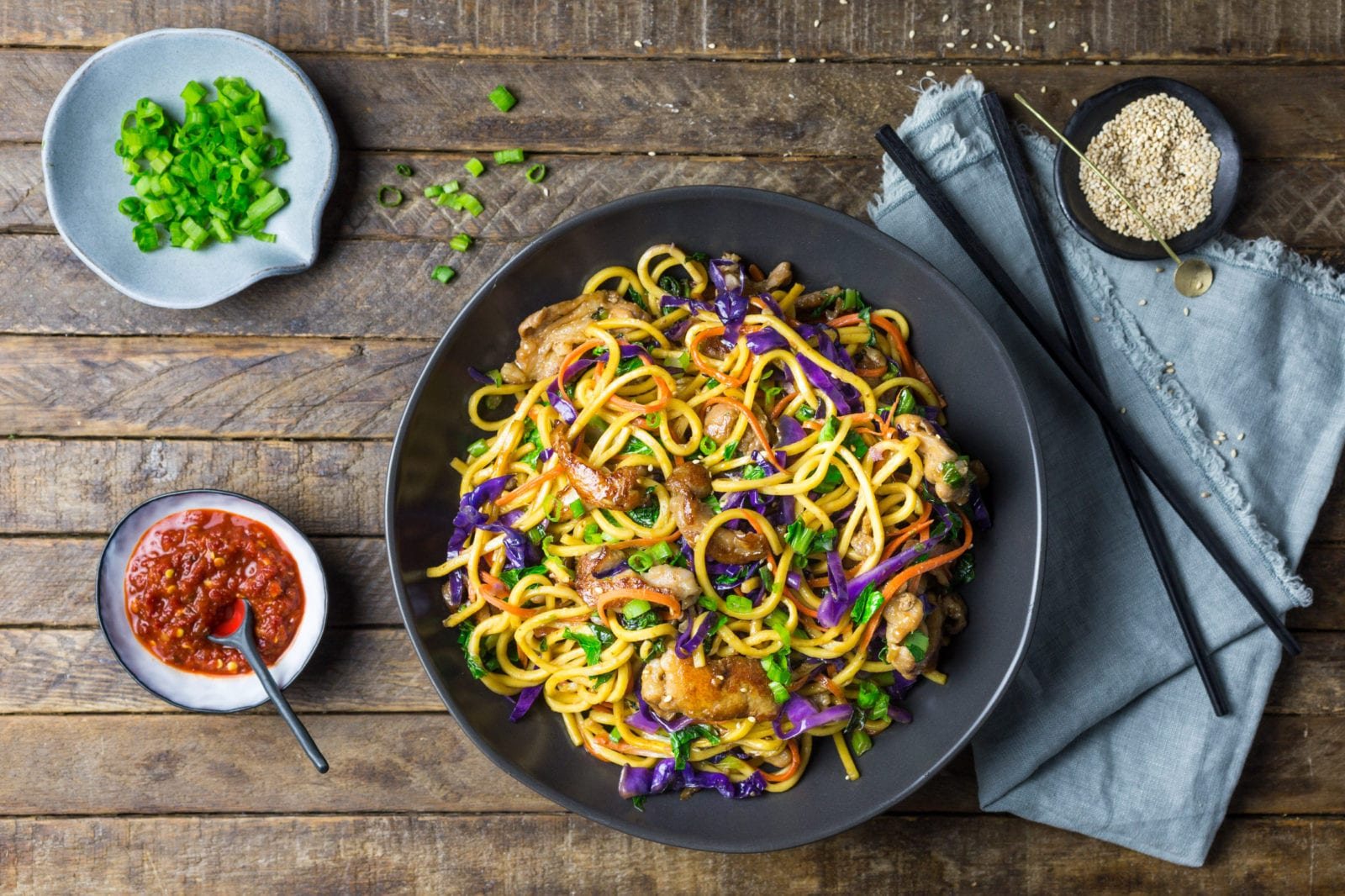 Stir Fried Lo Mein Noodles with Pork and Vegetables