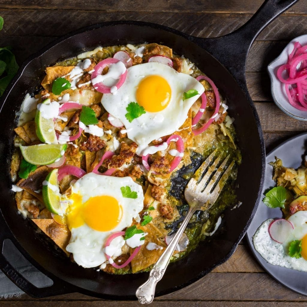 Extra Crispy Chilaquiles with Salsa Verde, Chorizo and Egg
