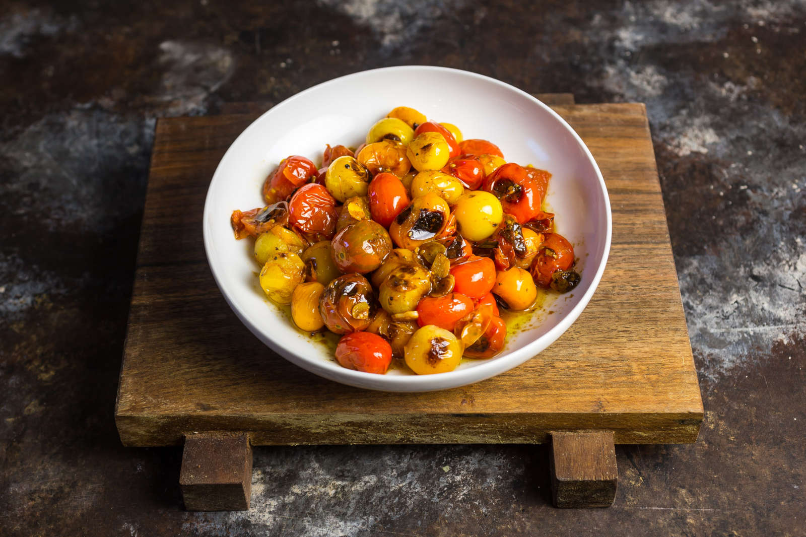 Blistered tomatoes for the crostini