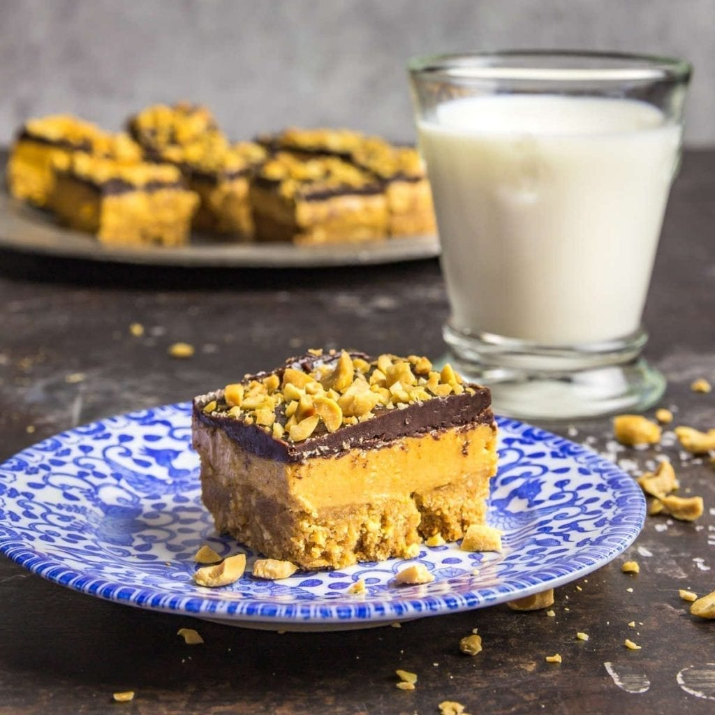Three Layer Whipped Peanut Butter Dream Bars