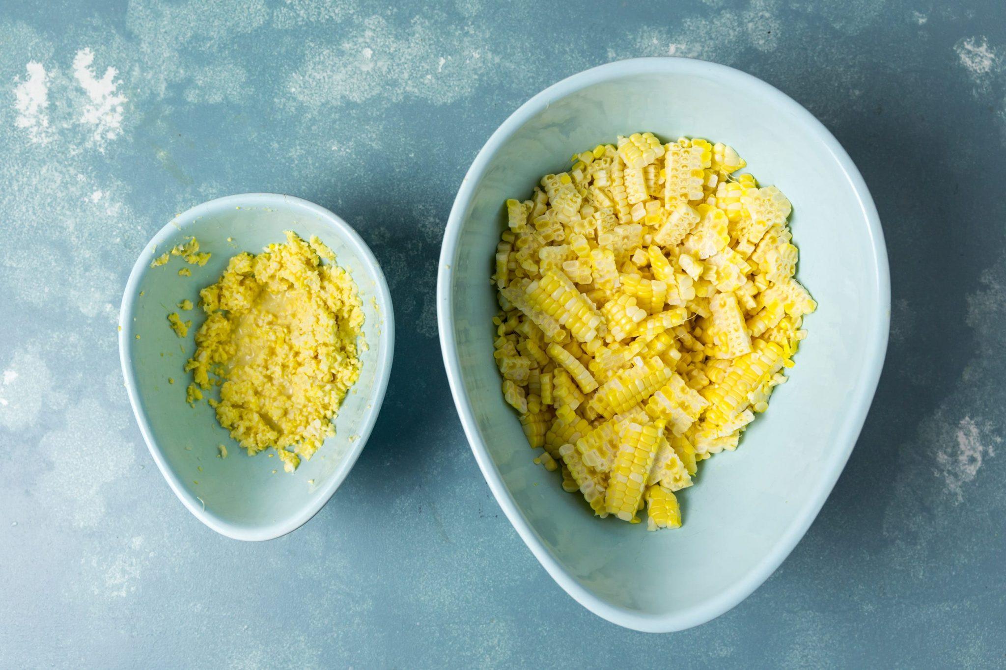 Shrimp and corn chowder - Corn cob kernels and milk