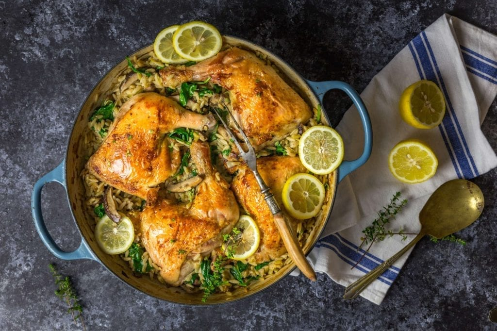 One-Pan Chicken with Buttery Lemony Mushroom Orzo