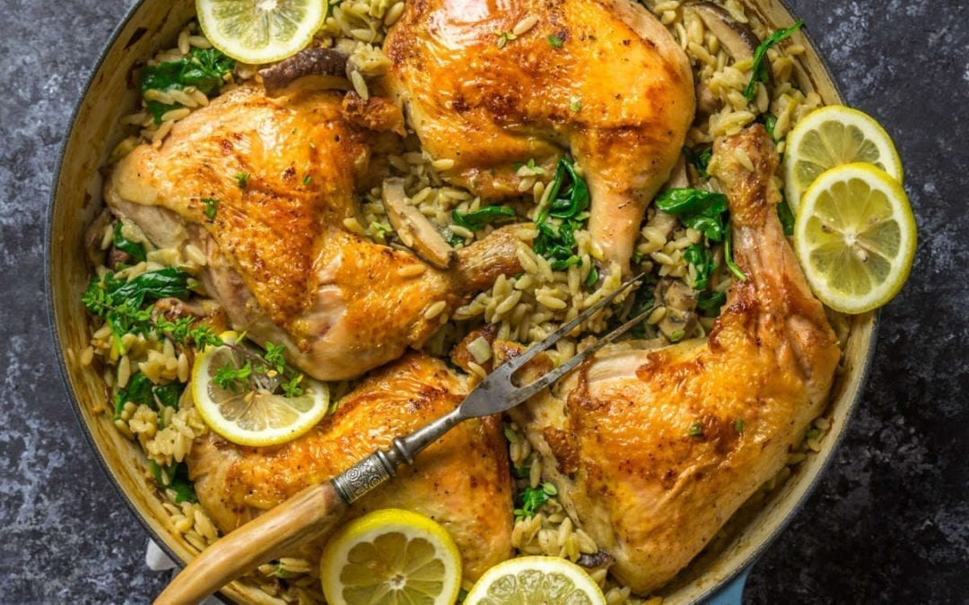 One-Pan Crispy Chicken with Buttery Lemony Mushroom Orzo
