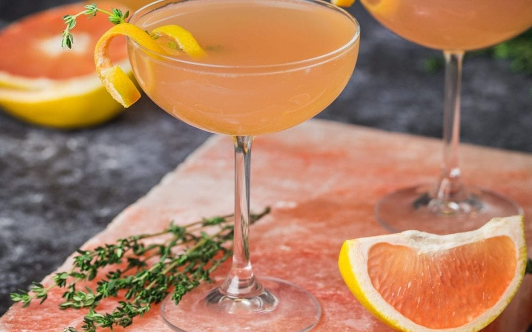 Roll in the Hay: A Valentine's Day Cocktail with Vodka, Grapefruit, Thyme and Rosé Champagne