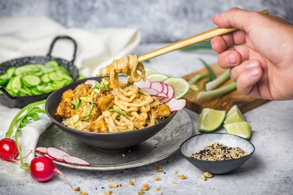 Sesame Noodles with Crsipy Tofu