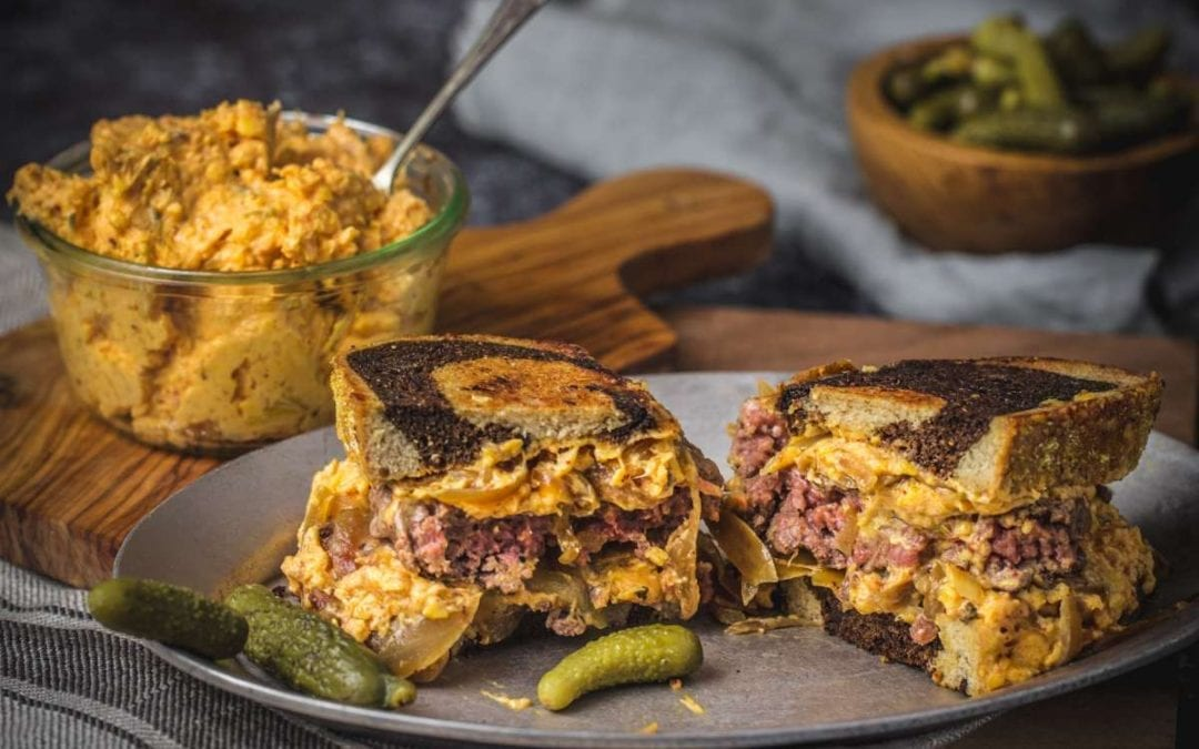 Kimchi Pimento Cheese Patty Melts