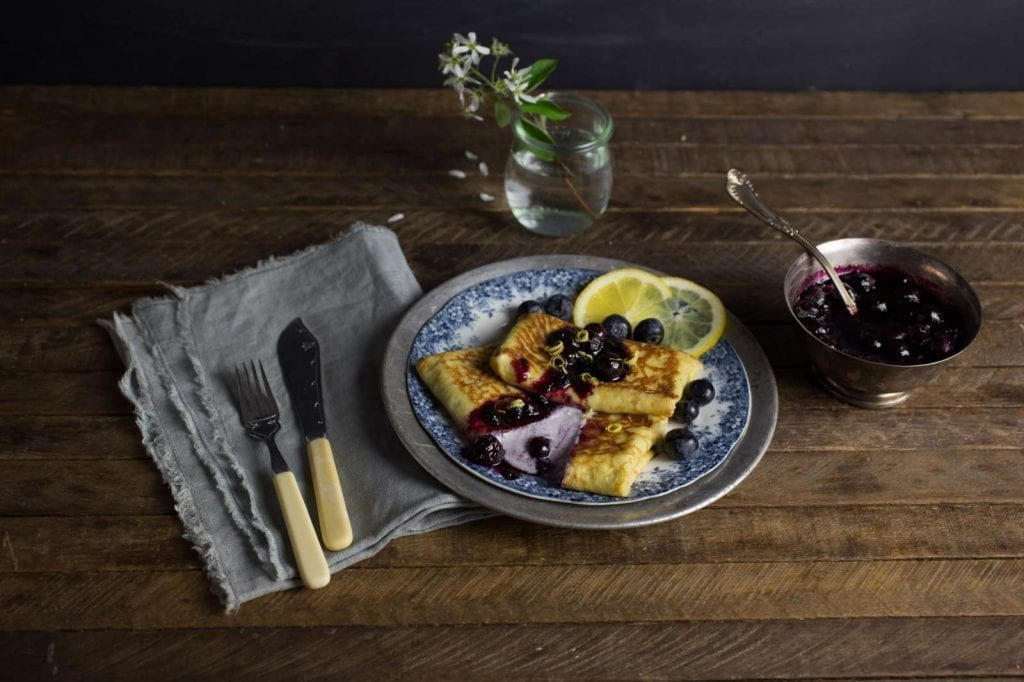 Cheese Blintz with Blueberry Sauce