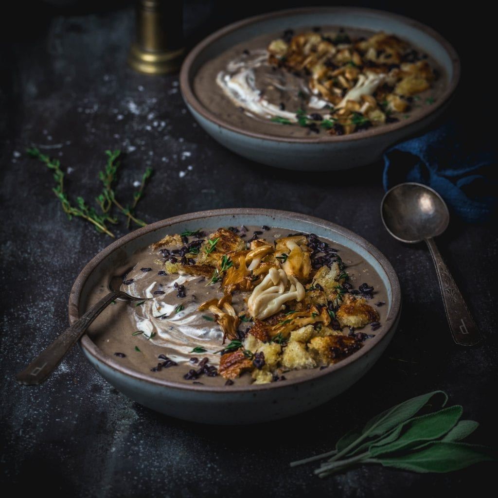 Mushroom Soup with Black Rice