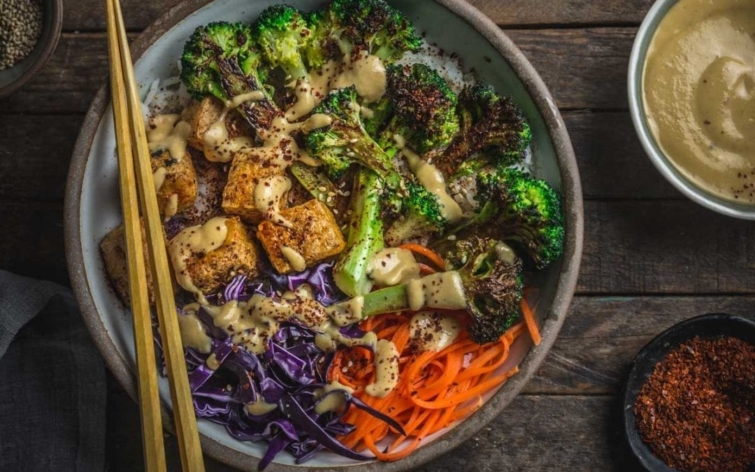 Tofu and Charred Broccoli Bowls with Kimchi–Miso Dressing