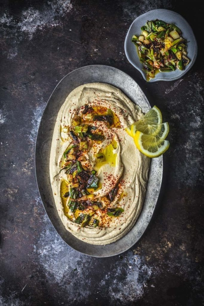 Miso Hummus with Charred Scallions