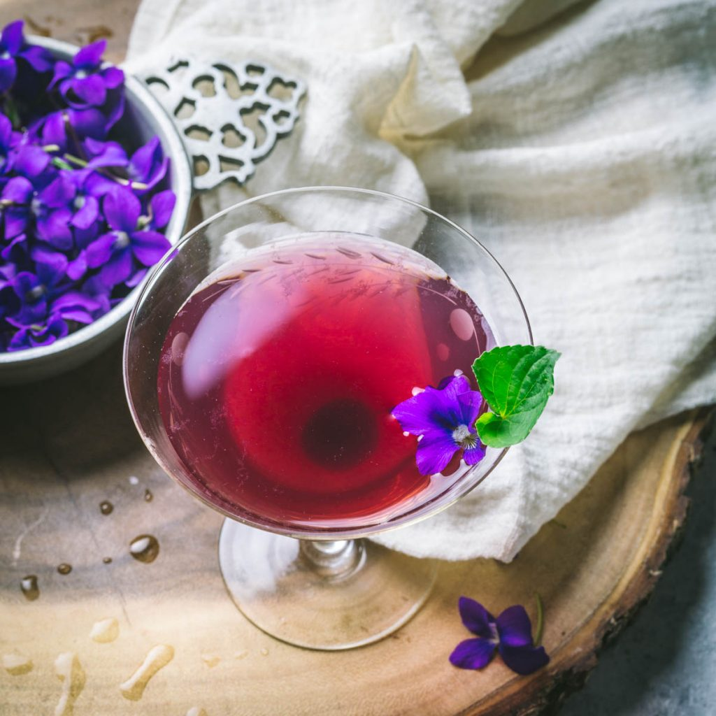 Aviation Cocktail with Violet Syrup