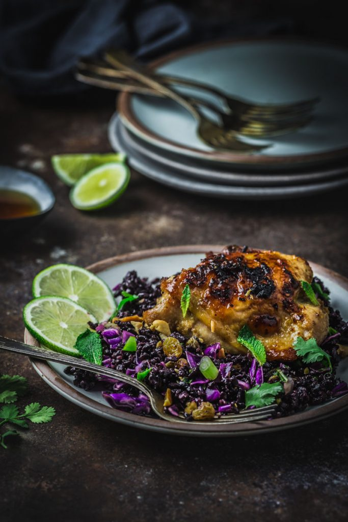 Sticky Lemongrass Chicken with Black Rice Salad