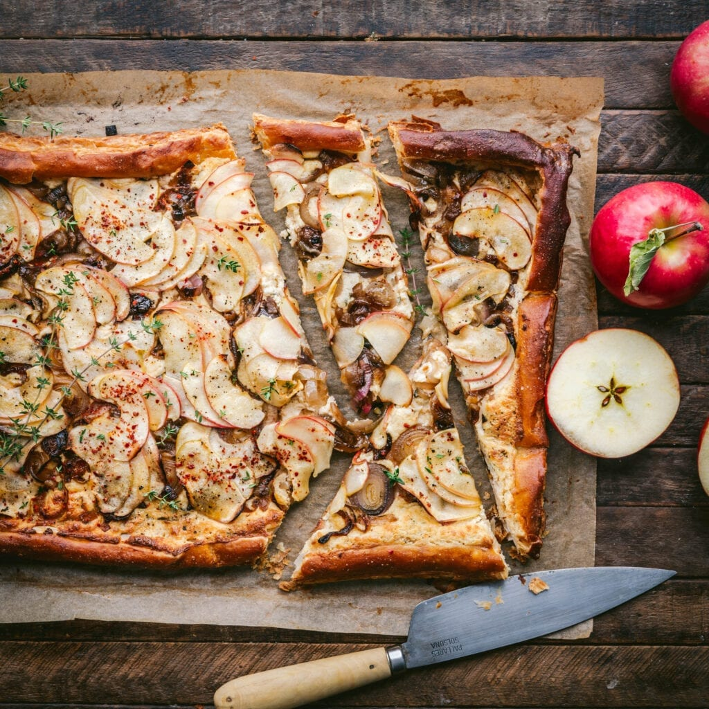 Apple, Shallot and Cheddar Tart